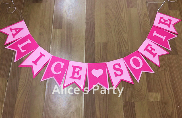 name banner for birthday party ; Custom-Personalised-Baby-shower-banner-Girl-name-bunting-Pink-theme-Birthday-Party-Decoration-Hot-Nursery-Playroom