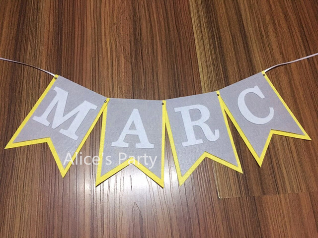 name banner for birthday party ; Custom-Personalized-Boy-Baby-shower-Name-Banner-Flag-Yellow-Gray-White-Birthday-Party-Decoration-High-chair