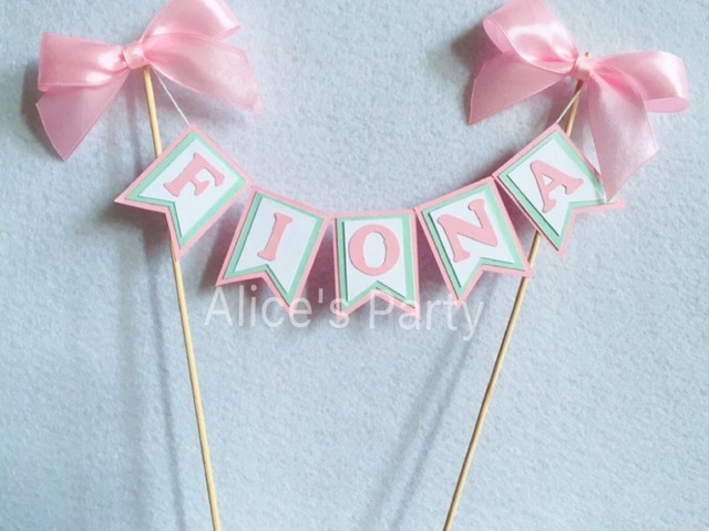 name banner for birthday party ; Personalized-Kids-Girl-Name-Cake-Topper-Bunting-Baby-Shower-Party-cake-banner-Flag-birthday-Party-Flag
