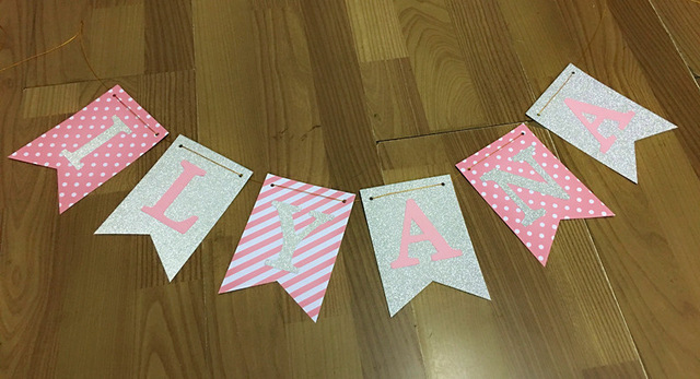 name banner for birthday party ; Personalized-Silver-Glitter-Sparkly-Pink-Dots-Stripes-Paper-Name-Banner-Girl-Birthday-Party-Bunting-Photo-Background