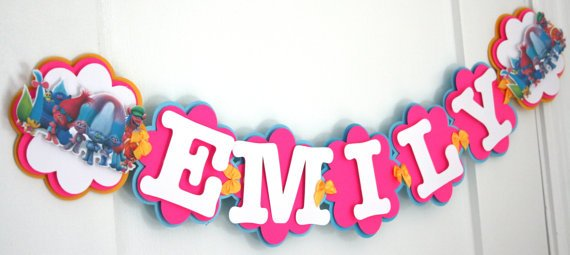 name banner for birthday party ; Trolls-Name-Banner