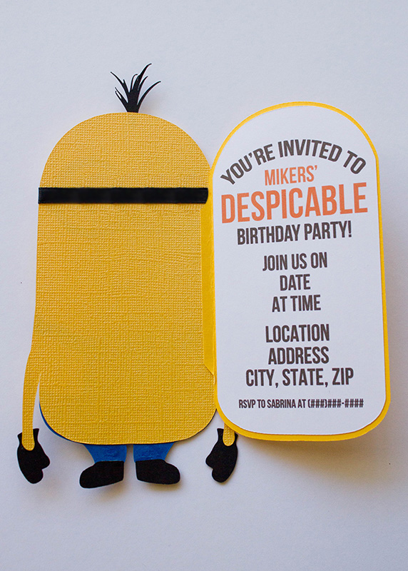 one in a minion birthday card ; Invitations-2
