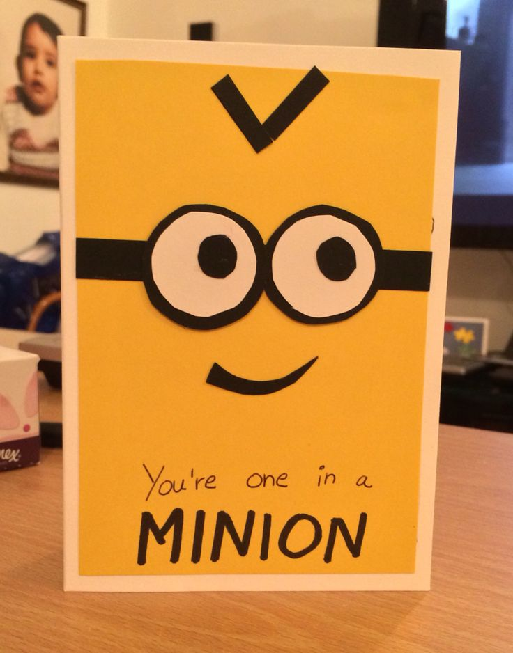 one in a minion birthday card ; a28b9624428373e2ab0e924b72cb2635--minion-birthday-card-minion-card