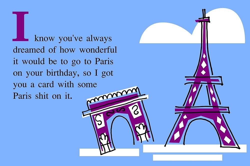 paris birthday card ; flat,1000x1000,075,f