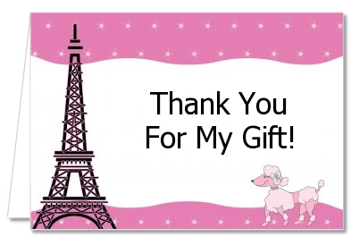 paris birthday card ; poodlethankyoucard