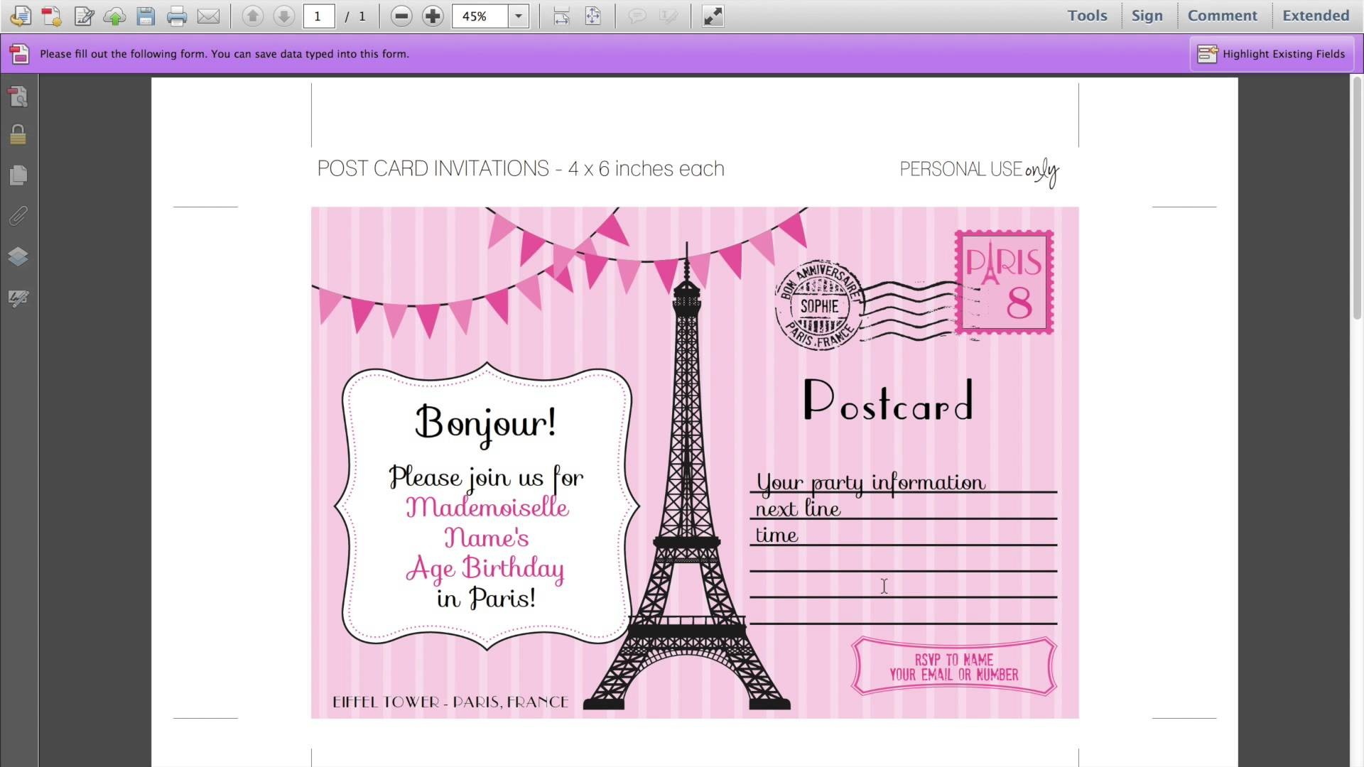 paris birthday party invitation templates ; invitation-debut-template-best-editable-paris-invitations-for-your-paris-birthday-party-of-invitation-debut-template