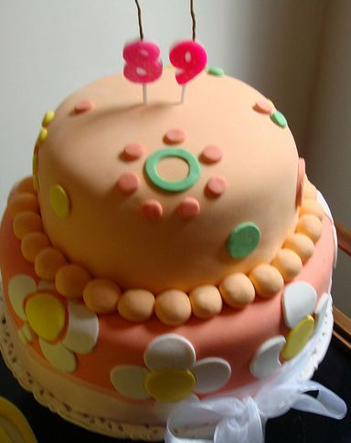 peach color birthday cake ; Two+tier+peach+color+birthday+cake+with+pearls+and+white+flower+patterns