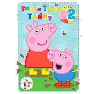 peppa pig granddaughter 2nd birthday card ; 413nMEiCxwL