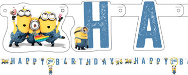 personalised minion birthday banner ; 1