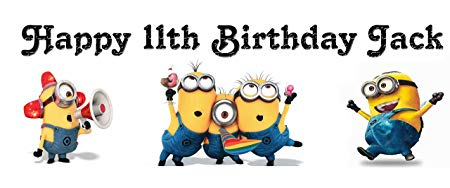 personalised minion birthday banner ; 812xih-pi-L