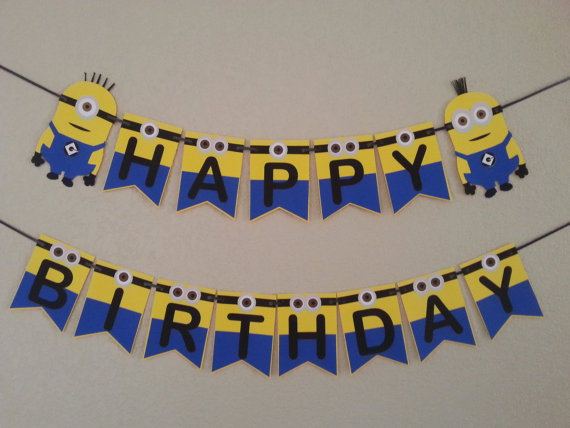 personalised minion birthday banner ; bceb28f0d5c7603549d9778118d63e60