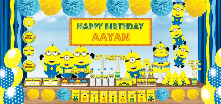 personalised minion birthday banner ; minions