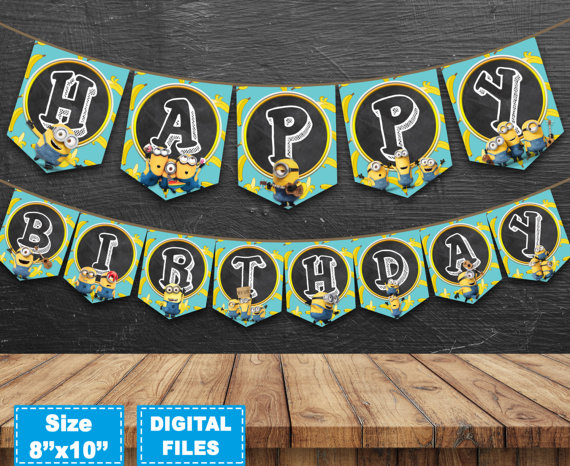 personalised minion birthday banner ; personalised-birthday-banners-minions-banner-minions-birthday-banner-despicable-me-banner