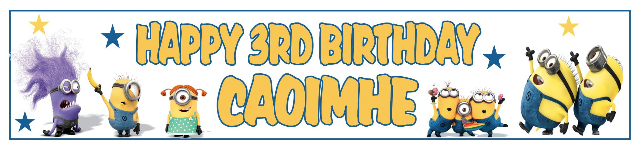 personalised minion birthday banner ; personalised-minions-banner-2914-p