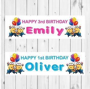 personalised minion birthday banner ; s-l300