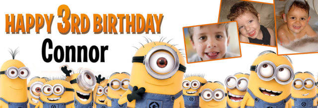 personalised minion birthday banner ; s-l640