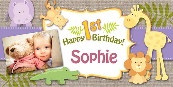 personalized birthday banners for 1st birthday ; Happy-Birthday-Baby-Girl-Safari-Banner-with-photo-LG2