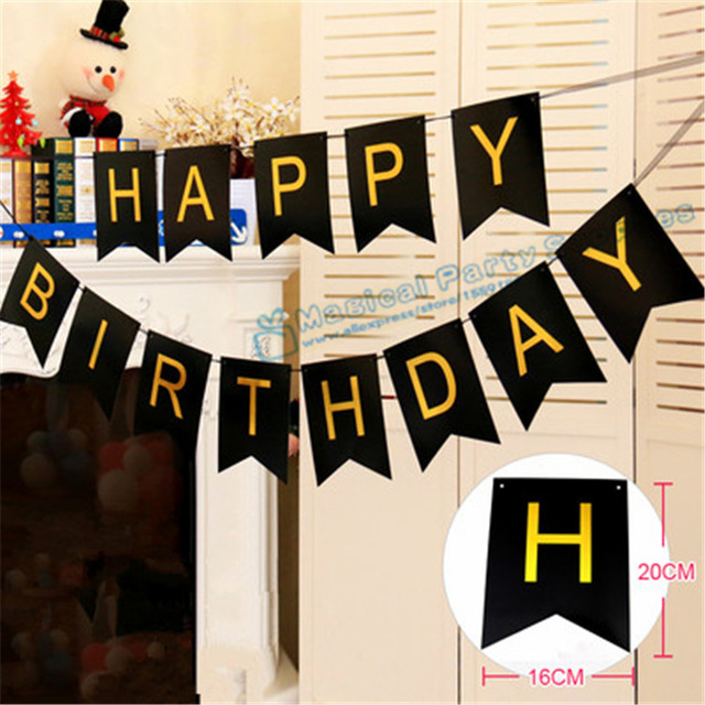 personalized happy birthday banner ; 1-Set-Happy-birthday-Banner-Black-and-Gold-Personalized-Banner-Birthday-Party-Decor-1st-18th-20th