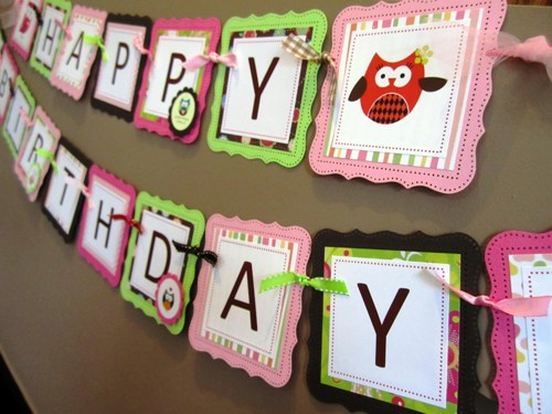 personalized happy birthday banner ; customized-birthday-banners-owl-happy-birthday-banner-custom-made-party-decoration
