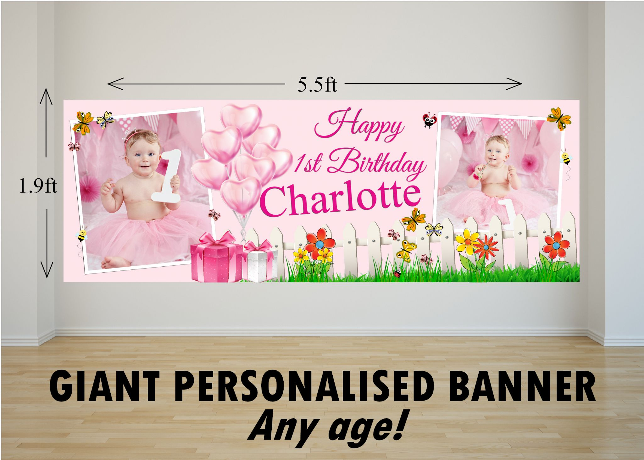 personalized happy birthday banner ; personalised-giant-large-pink-girls-butterfly-garden-happy-birthday-photo-poster-banner-n82-any-age-16630-p