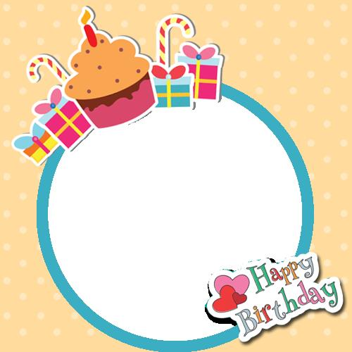 personalized happy birthday picture frame free ; 1456330147Happy%2520Birthday%2520Frame%2520With%2520Cup%2520Cake%2520and%2520Your%2520Photo