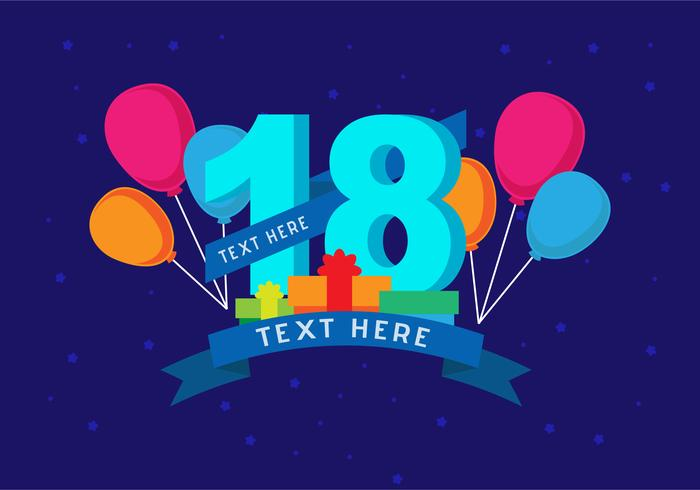 photo background for birthday ; 18th-birthday-background-vector