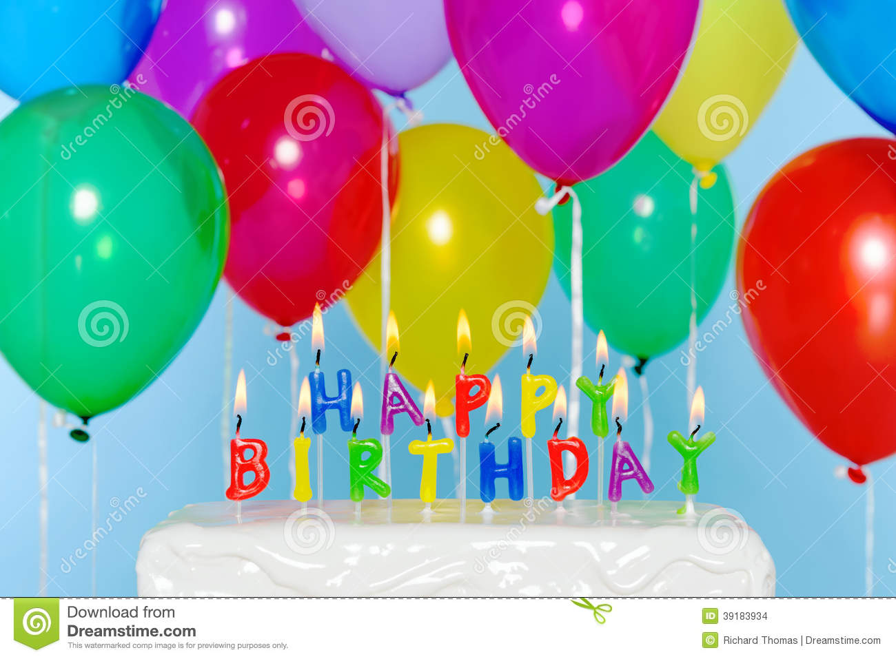 picture of birthday cake and balloons ; happy-birthday-candles-cake-balloons-candle-letters-colourful-background-39183934