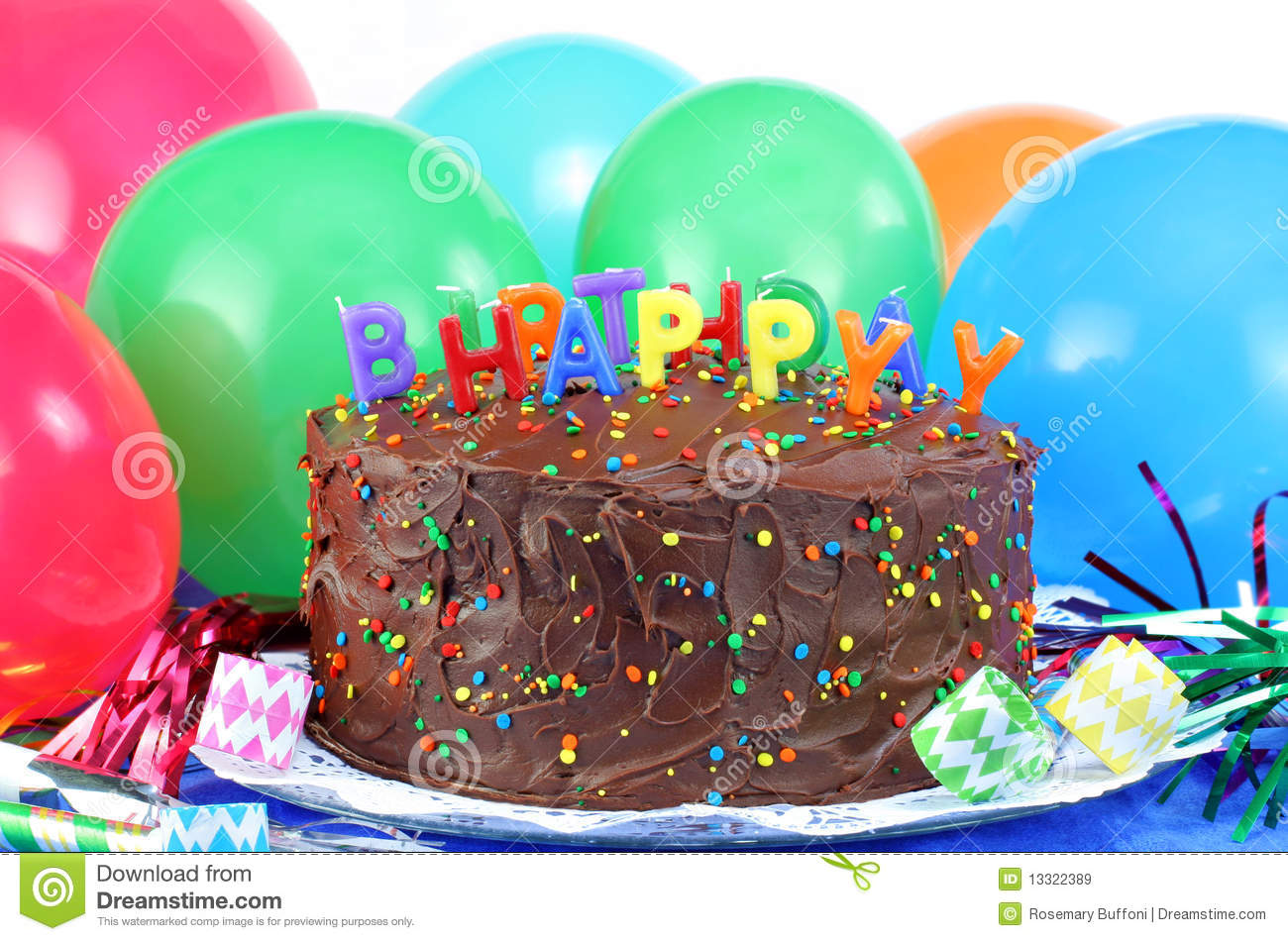 picture of birthday cake and balloons ; happy-birthday-chocolate-cake-balloons-13322389