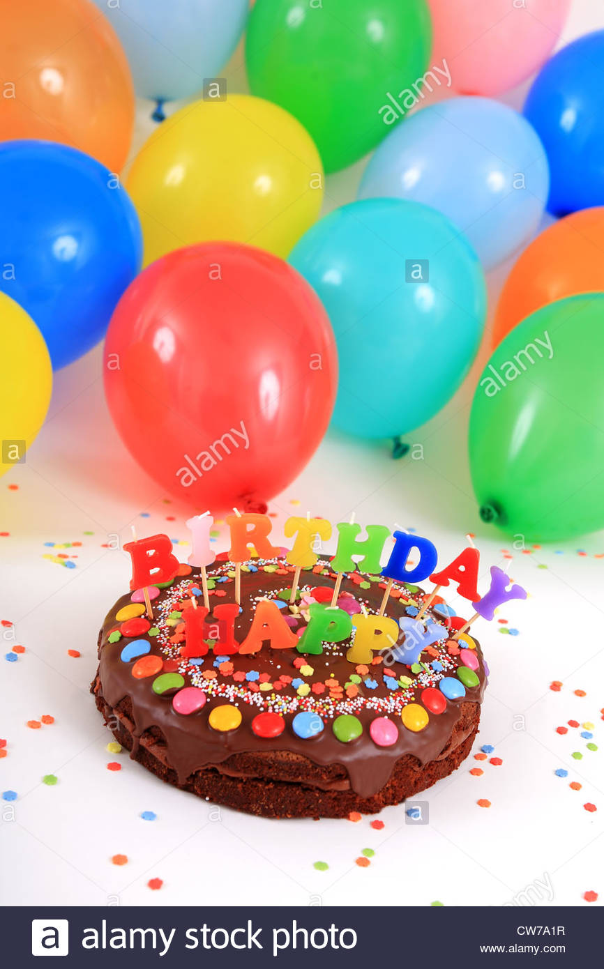 picture of birthday cake and balloons ; happy-birthday-chocolate-cake-with-candles-and-balloons-CW7A1R