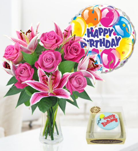 picture of birthday cake and balloons ; rose-lily-balloon-cake