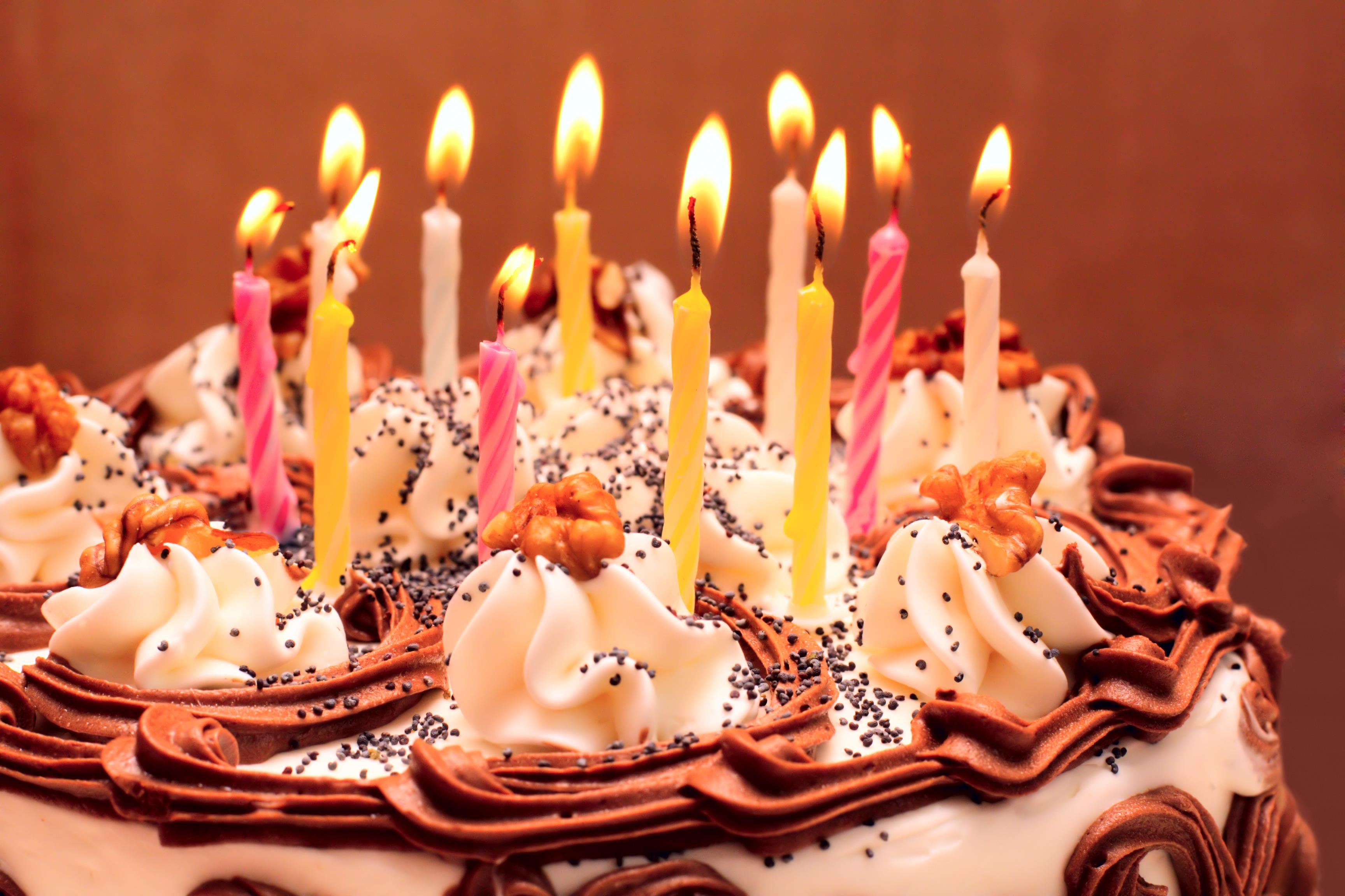 picture of birthday cake and candles ; birthday-cake
