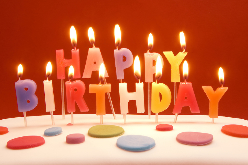 picture of birthday cake and candles ; chocolate-birthday-cake-with-candles