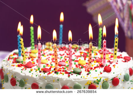 picture of birthday cake and candles ; stock-photo-birthday-cake-with-candles-on-purple-background-267639854