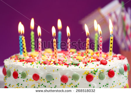 picture of birthday cake and candles ; stock-photo-birthday-cake-with-candles-on-purple-background-268518032