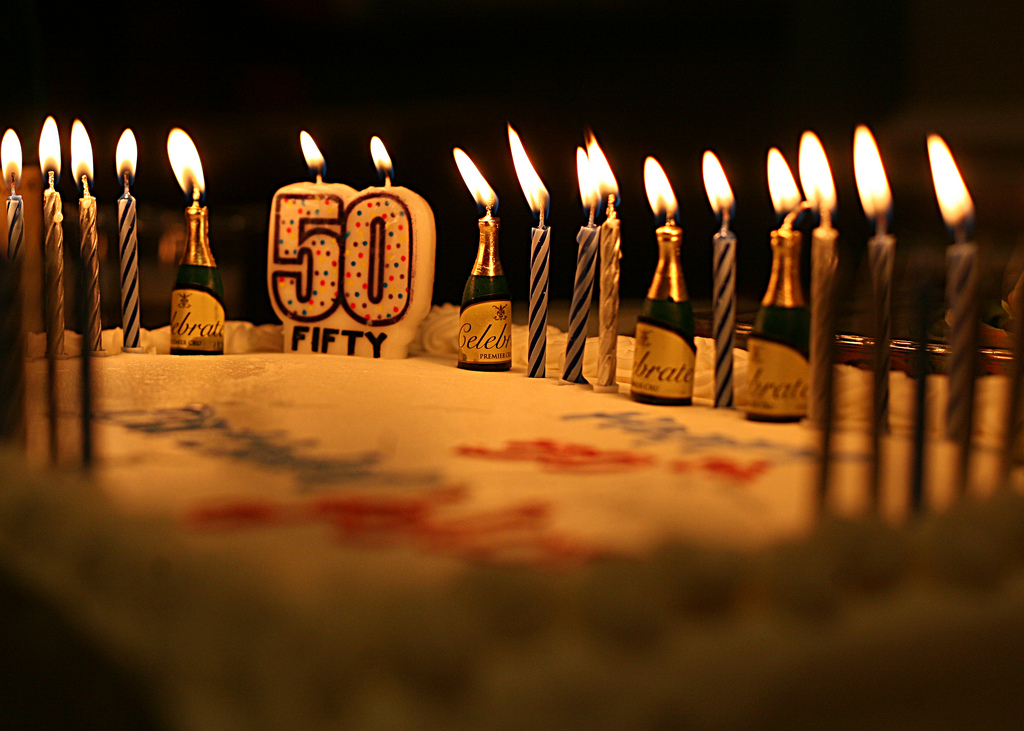 picture of birthday cake with 50 candles ; 6897249719_007ff0d0c4_b