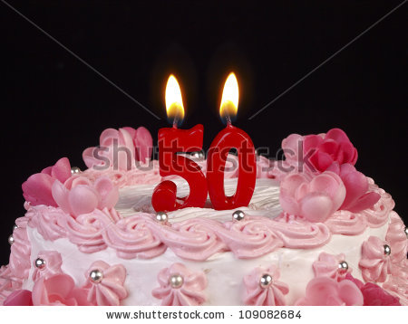 picture of birthday cake with 50 candles ; stock-photo-birthday-cake-with-red-candles-showing-nr-109082684