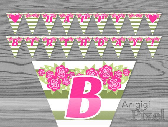 pink and green happy birthday banner ; 44fd90d0475418a9bb731678330d138b
