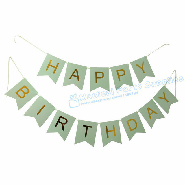 pink and green happy birthday banner ; 5-Sets-Fairy-Birthday-Banner-Foil-Gold-Happy-Birthday-Party-Girl-s-Pink-Boy-s-Mint