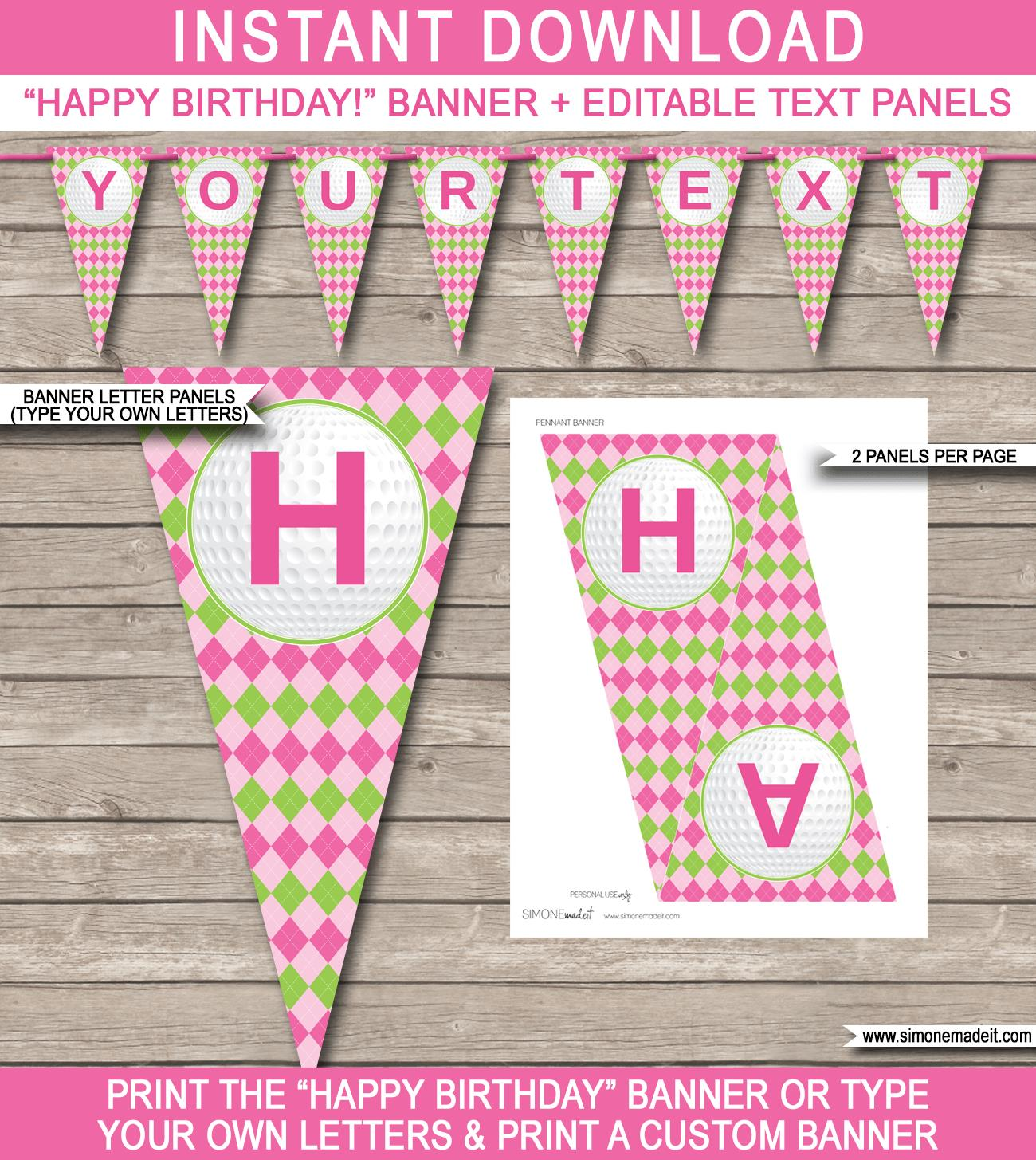 pink and green happy birthday banner ; Girls-Golf-Banner-Template-Happy-Birthday-Banner-editable-text