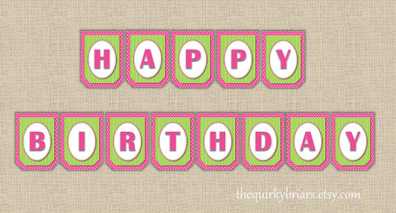 pink and green happy birthday banner ; il_570xN-2