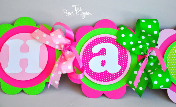 pink and green happy birthday banner ; il_570xN