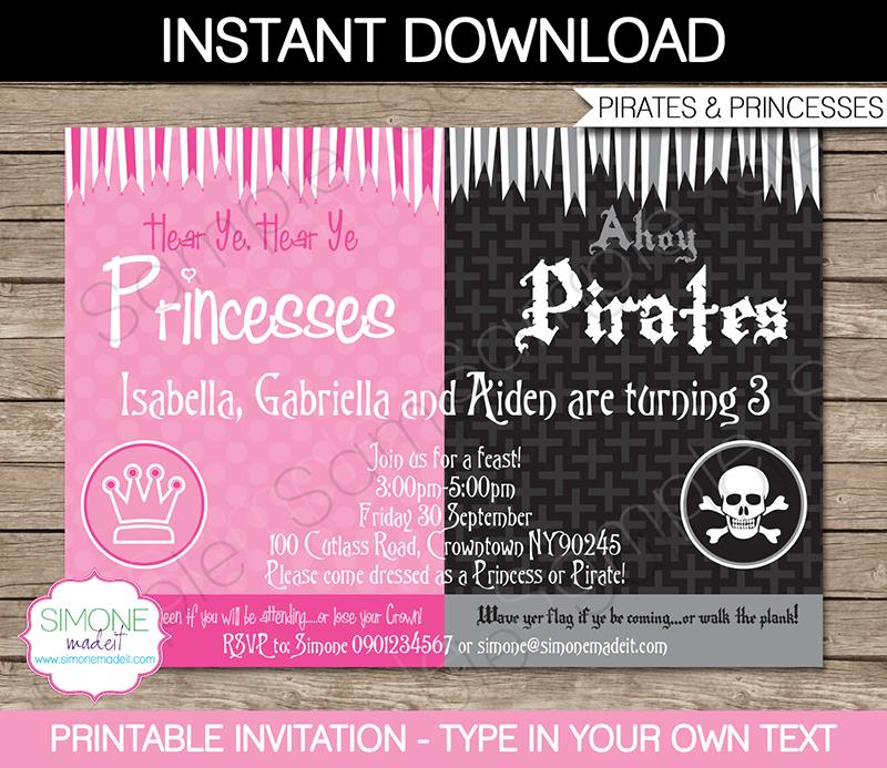 pirate birthday party invitation template free ; Printable-Pirate-and-Princess-Invitation