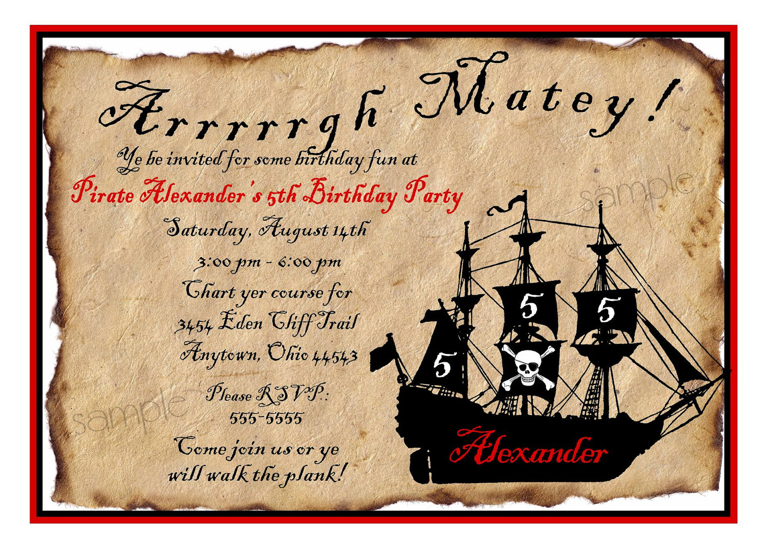 pirate birthday party invitation template free ; pirate