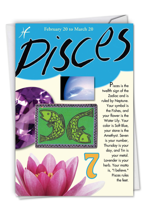 pisces birthday card ; pisces-card-125