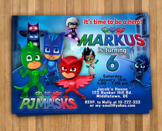 pj masks birthday invitation template ; il_570xN