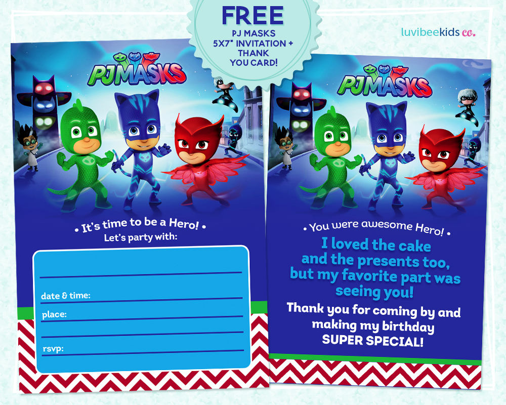pj masks birthday invitation template ; pre2