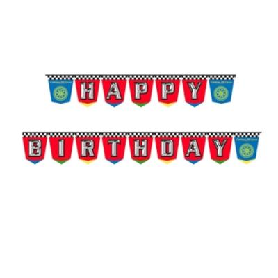 plastic birthday banners ; cars-party-hbd-banner