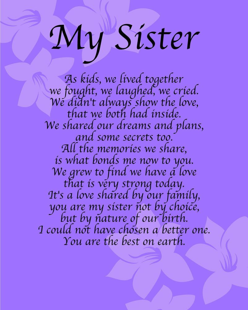 poem to your sister on her birthday ; 0e038aad414f05b87099d2b4e46d3b88