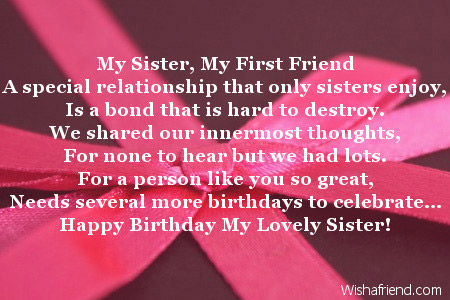 poem to your sister on her birthday ; 2013-sister-birthday-poems