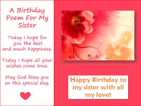 poem to your sister on her birthday ; 4f61dd2c216e898f910449b9cc0ed2e3